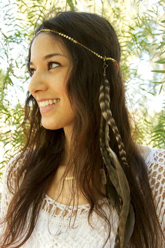 CHAIN HEADPIECE- head chain headdress feather headpiece with crystals ...