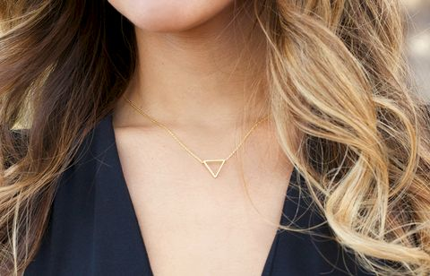 tiny,geometric,triangle,Necklace,-,14k,Gold,Filled,Necklace,,Dainty,geometric necklace, triangle necklace, geometric jewelry, gold