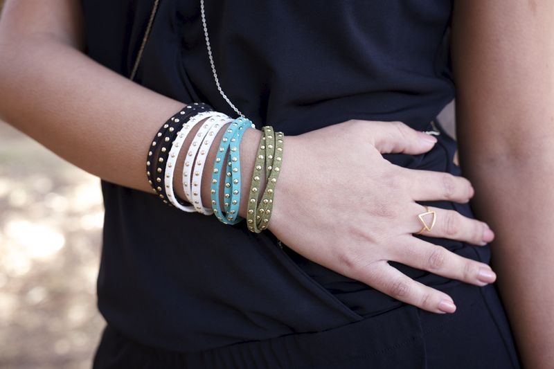 Leather And Studs Wrap Bracelet Product Images Of