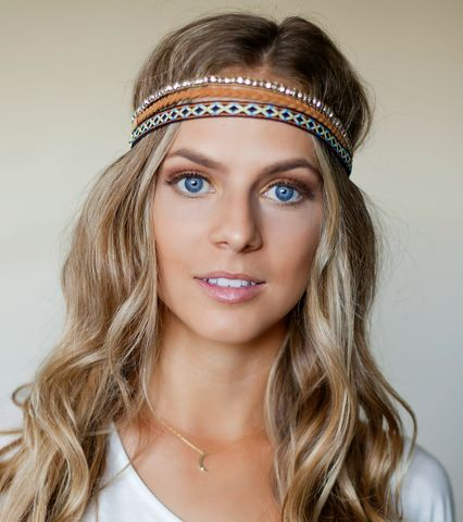 3,pack-,Bohemian,strech,headbands,-,leather,,bead,&,multi-color,fabric,leather, stretch headband, headband, hairpiece, hair, boho, bohemian, boho headband, festival , accessories, gypsy, aztec, hippie headband