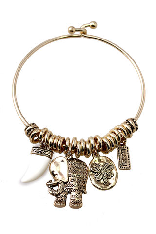 You,must,be,my,lucky,charm,elephant, tusk, bangle, bracelet, charm