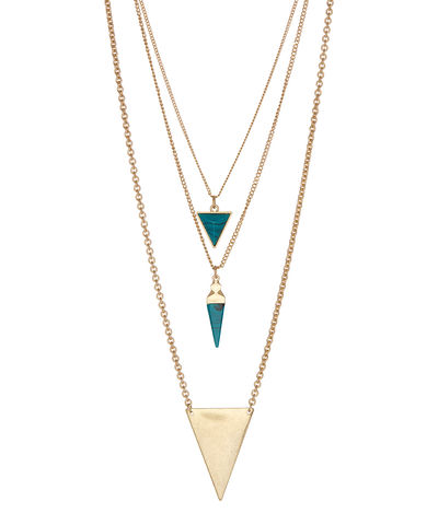 Triple,Triangle,necklace,triangle, geometric, necklace, lovmely