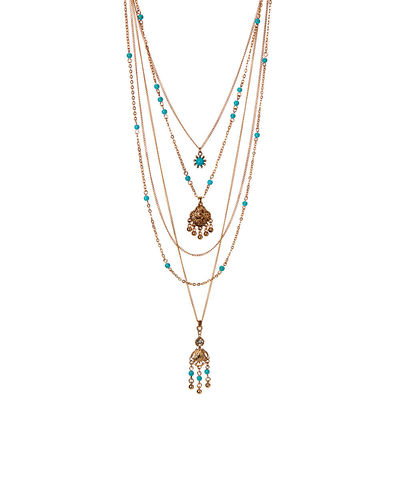 Turquoise,Multi,strand,boho,necklace,beaded chain, turquoise, jewelry, boho jewelry, bohemian
