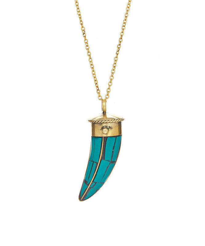 necklace chain silv gold beaded plated sterling long pendant and silver turquoise horn tusk