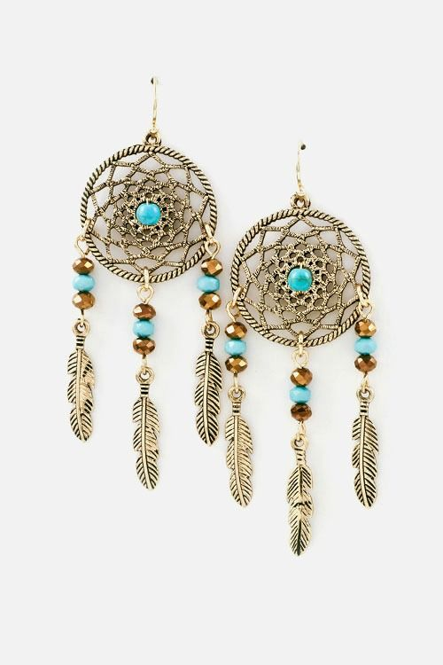 Turquoise Dream Catcher And Feather Earrings Product Images Of