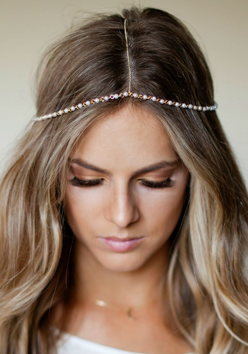 Chain Headpiece Pearl And Gold Chain Headdress Head Piece