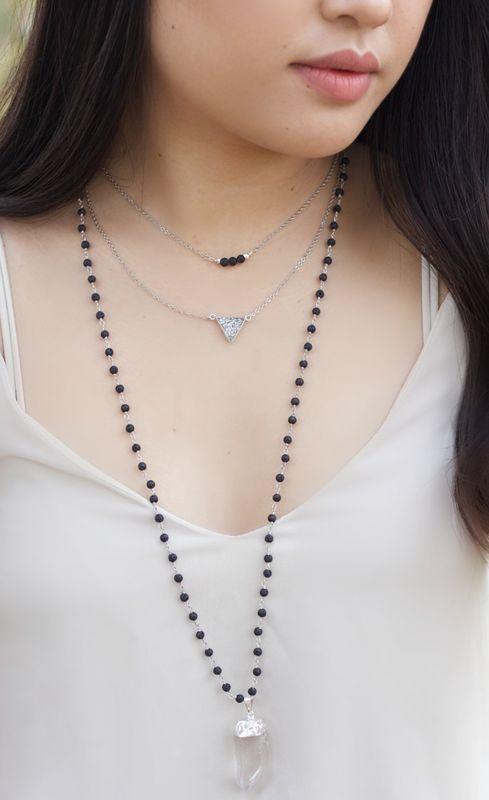 LAVA rock jewelry - Essential oil diffuser necklace - layered lava ...