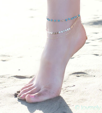 MADDIE,ANKLET-,triple,chain,turquoise,anklet,Jewelry,Anklet,ANKLET,BRACELET,VINTAGE,GOLD,BEACH,FESTIVAL,GYPSY,BELLY_DANCER,CHAIN_ANKLE_PIECE,BOHEMIAN,COSTUME,ANKLE_JEWELRY,body_chain,JAPANESE BEADS,VINTAGE CHAIN,GOLD CHAIN,CHARM