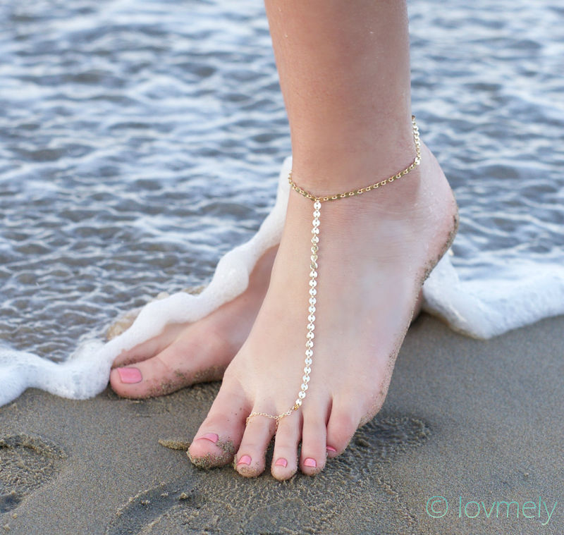 LOVMELY ANKLET- gold chain foot anklet / barefoot sandal - product images  of