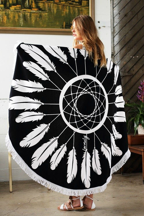 The Dreamer Round towel- dream catcher round towel with tassel accent- Towel / Throw / Yoga mat / Tapestry - product images  of