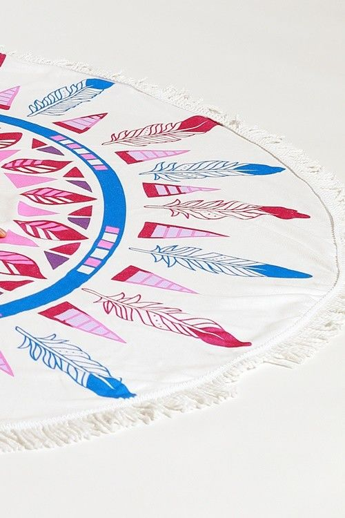 The Festival Round towel- dream catcher round towel with tassel accent- Towel / Throw / Yoga mat / Tapestry - product images  of
