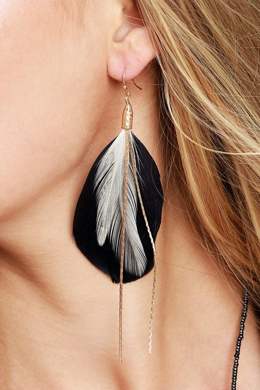FEATHER AND THIN CHAIN EARRINGS - product images  of