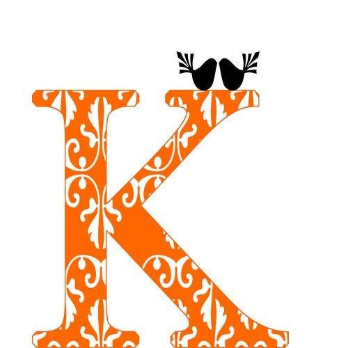 Custom k alphabet letter damask orange monogram k decor for Letter k decoration