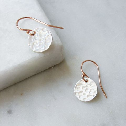 Hammered,Silver,and,Rose,Gold,Earrings,rose gold, rose gold earrings, handmade jewellery, hazey designs