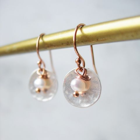 Snow,White,Pearl,and,Rose,Gold,Earrings,pearl earrings, rose gold earrings, handmade earrings, hazey designs