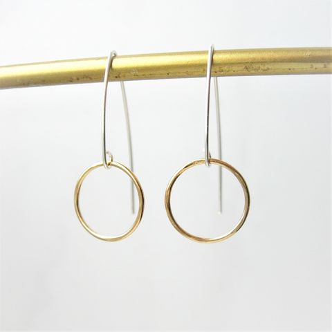 Silver,and,Gold,Circle,Earrings,gold earrings, long earrings, hazey designs