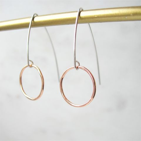 Silver,and,Rose,Gold,Circle,Long,Earrings,rose gold earrings, handmade earrings, hazey designs