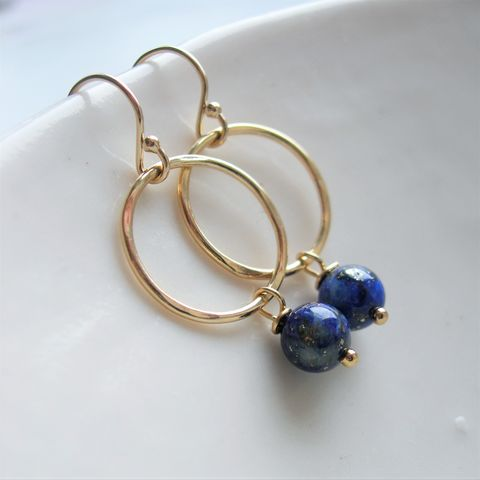Lapis,Lazuli,Earrings,lapis lazuli, gold earrings, hazey designs, handmade earrings