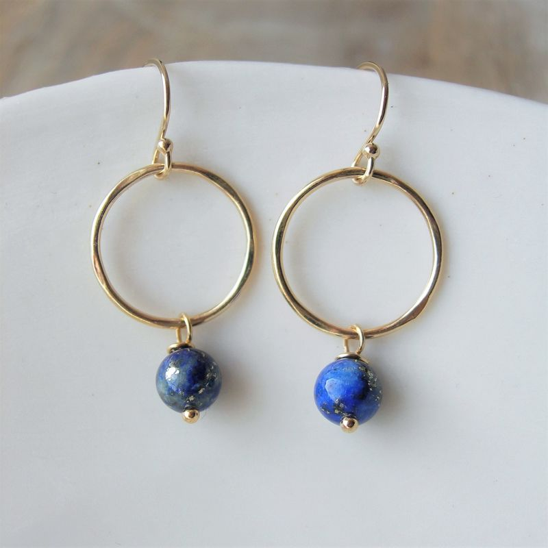 stone with earrings stud drop lazuli jewellery disc azuni from lapis