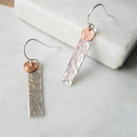 Hammered,Silver,Rectangle,Earrings,handmade earrings, long earrings, rose gold earrings, hazey designs