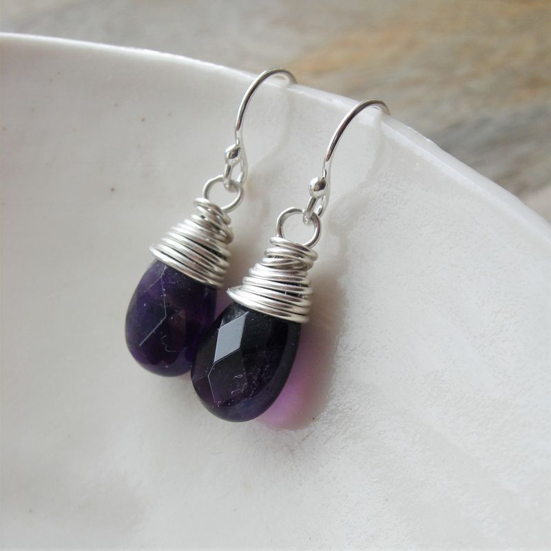 Amethyst Wire Wrapped Earrings - Hazey Designs