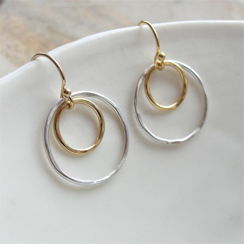 Hammered Silver And Gold Circle Earrings Product Images Of