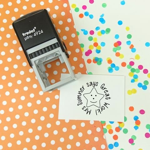 Personalised,Round,Teacher,Stamp,-,Self,Inking,Supplies,Scrapbooking,stamp,handmade,cards,stationery,embellishment,personalized,custom,clear_stamp,kids,teacher,classroom,marking,good_work,gel,image,light,time