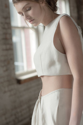 M,Cropped,Top,Linen cropped top, open back, white cropped top, natural fiber fabric