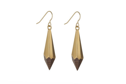 Wenge,and,22ct,y/gold,plated,earrings,-,to,order,only,wood,  earrings, facets, wenge, pair