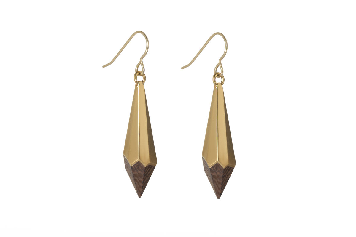 Wenge and 22ct y/gold plated earrings - to order only - product image