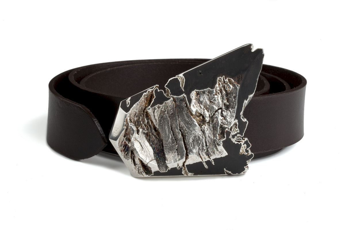 Bog oak and silver belt buckle - product image