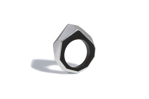 Blackwood,and,silver,ring, wooden ring, silver ring, faceted ring