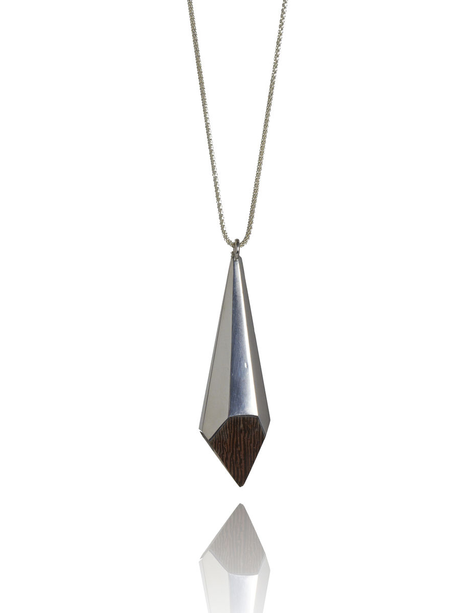 Wenge wood and silver pendant - product image