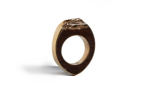 Bibinga,wood,and,rose,gold,ring,-,to,order,only,rose gold ring, wooden ring, organic wood jewellery, men's ring