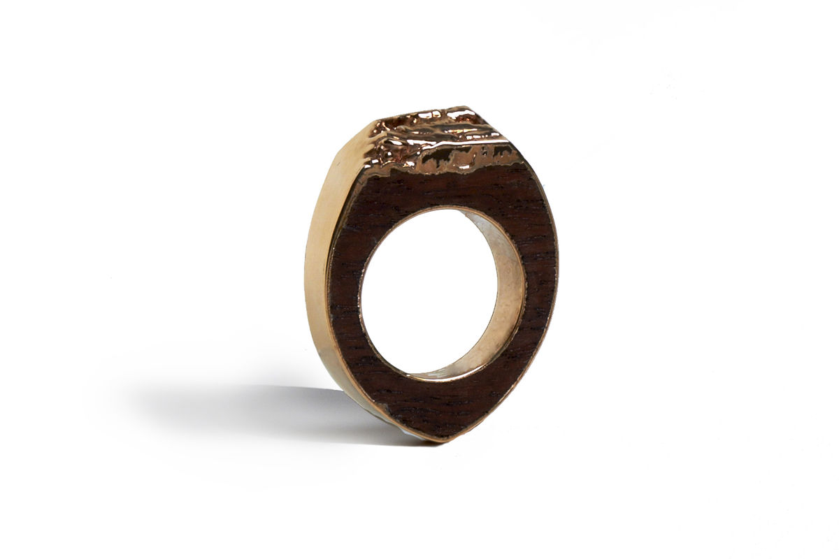 Bibinga wood and rose gold ring - to order only - product image
