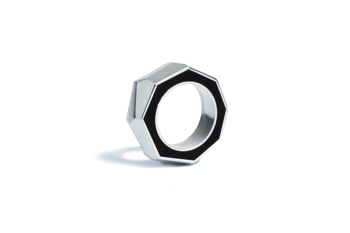 Blackwood and silver ring - product image
