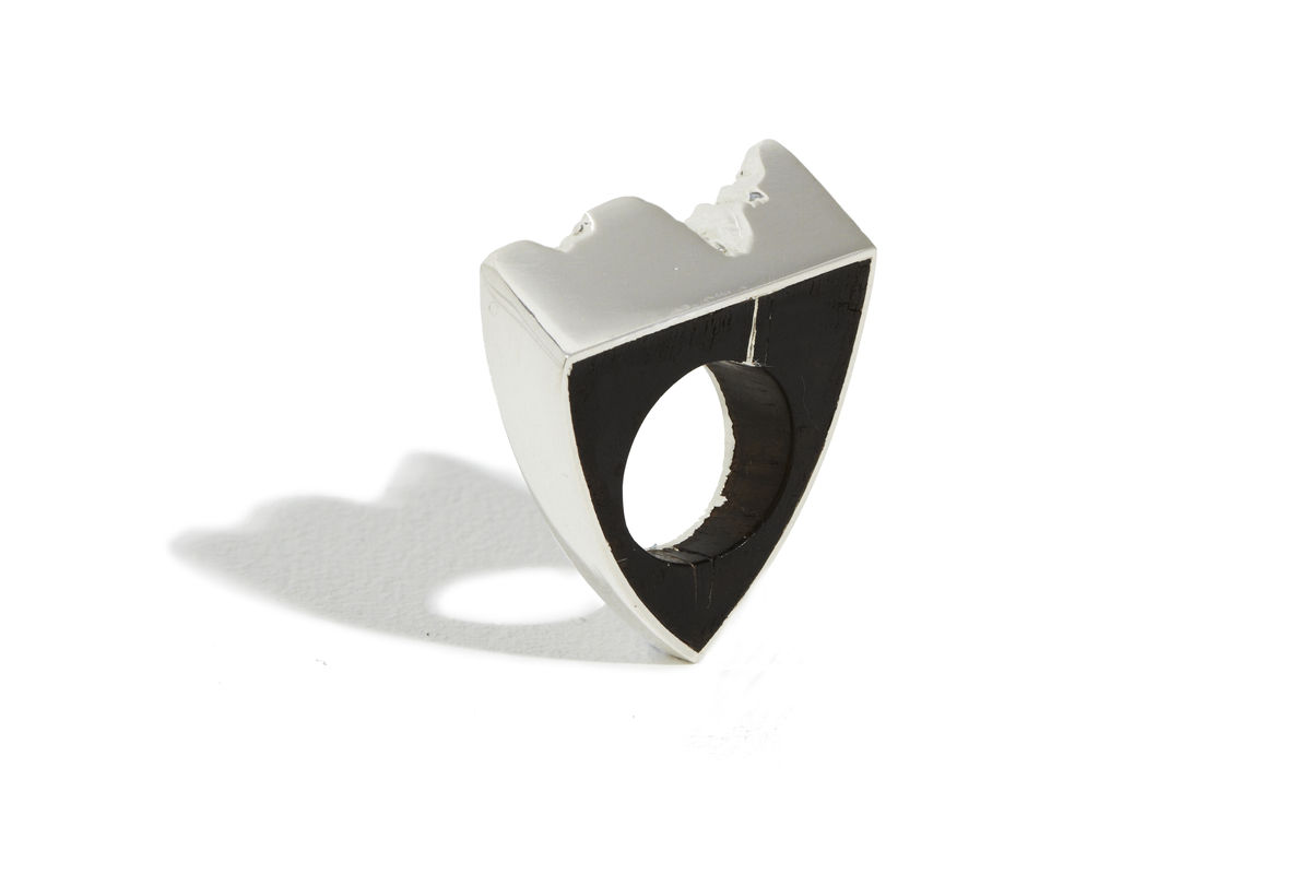 Bog oak and silver ring - product image