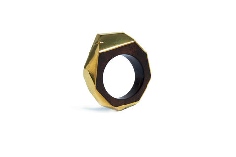 Teak,root,and,gold,ring,gold ring, wood ring, men's ring, faceted ring
