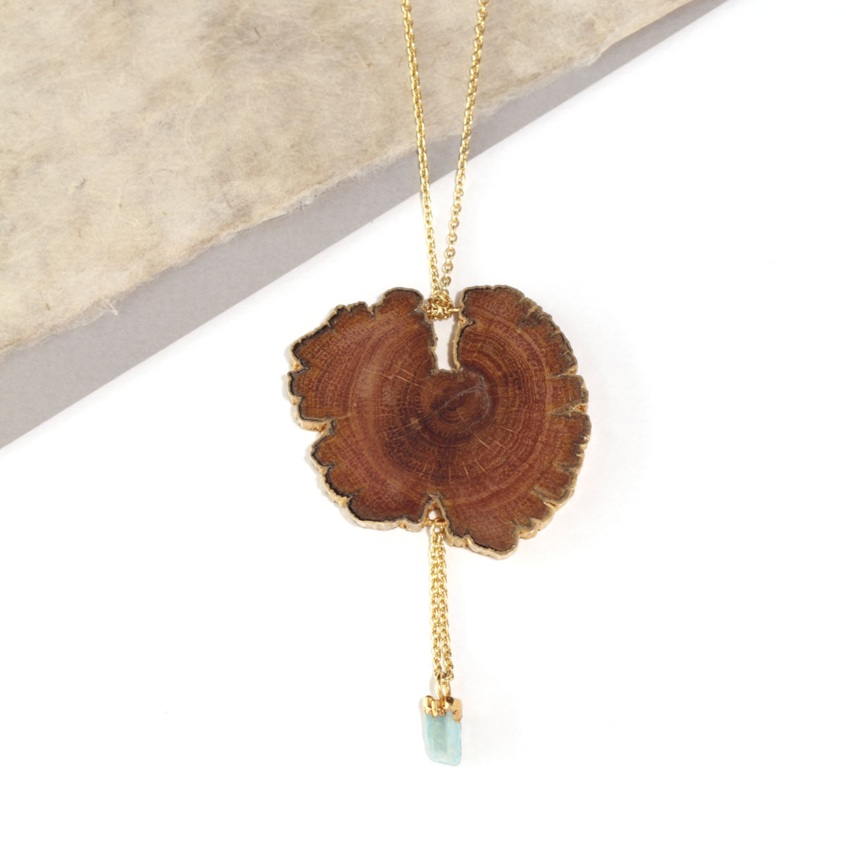 Oak slice pendant finished in 22ct yellow gold with tourmaline - to order only - product images  of