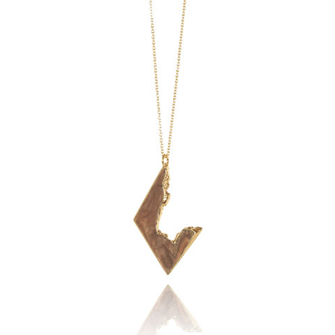 Iron,Wood,and,22ct,yellow,gold,finish,Organic necklace, wood and metal jewellery, wood and gold, 5th year anniversary gift