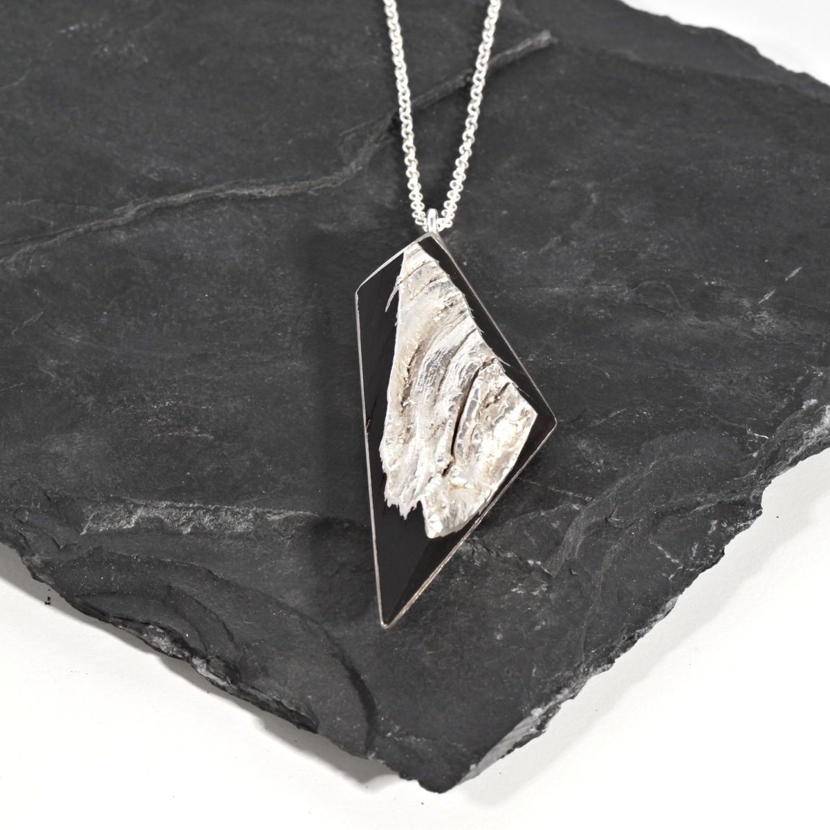 Bog oak pendant finished in silver - product images  of