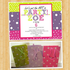 Art,Party,Birthday,Invitations,Paper_Goods,Art_Party,Colorful_invitations,polka_dots,polka_dot_invites,cute_invitations,customized_invites,matching_party_bags,artsy,etsy_invitations,artistic,5x7,cardstock
