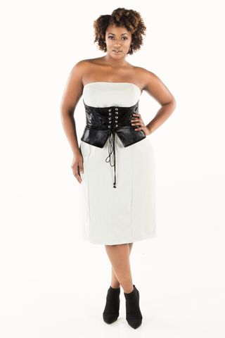 Faux,Leather,Peplum,Corset,Belt