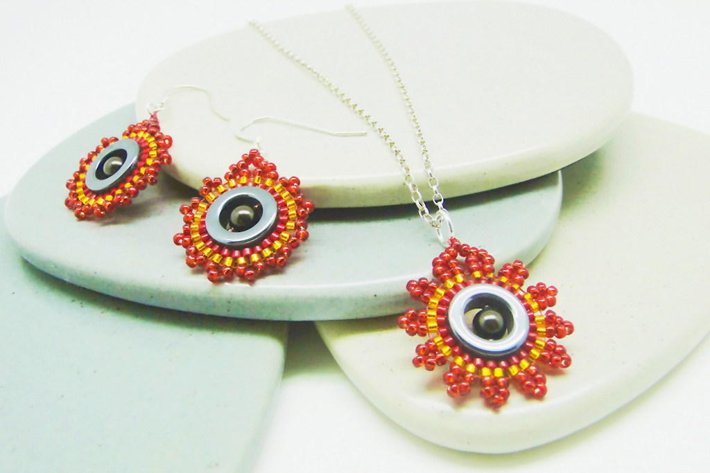 Dial - beaded jewellery set in red by Dani Crompton Designs