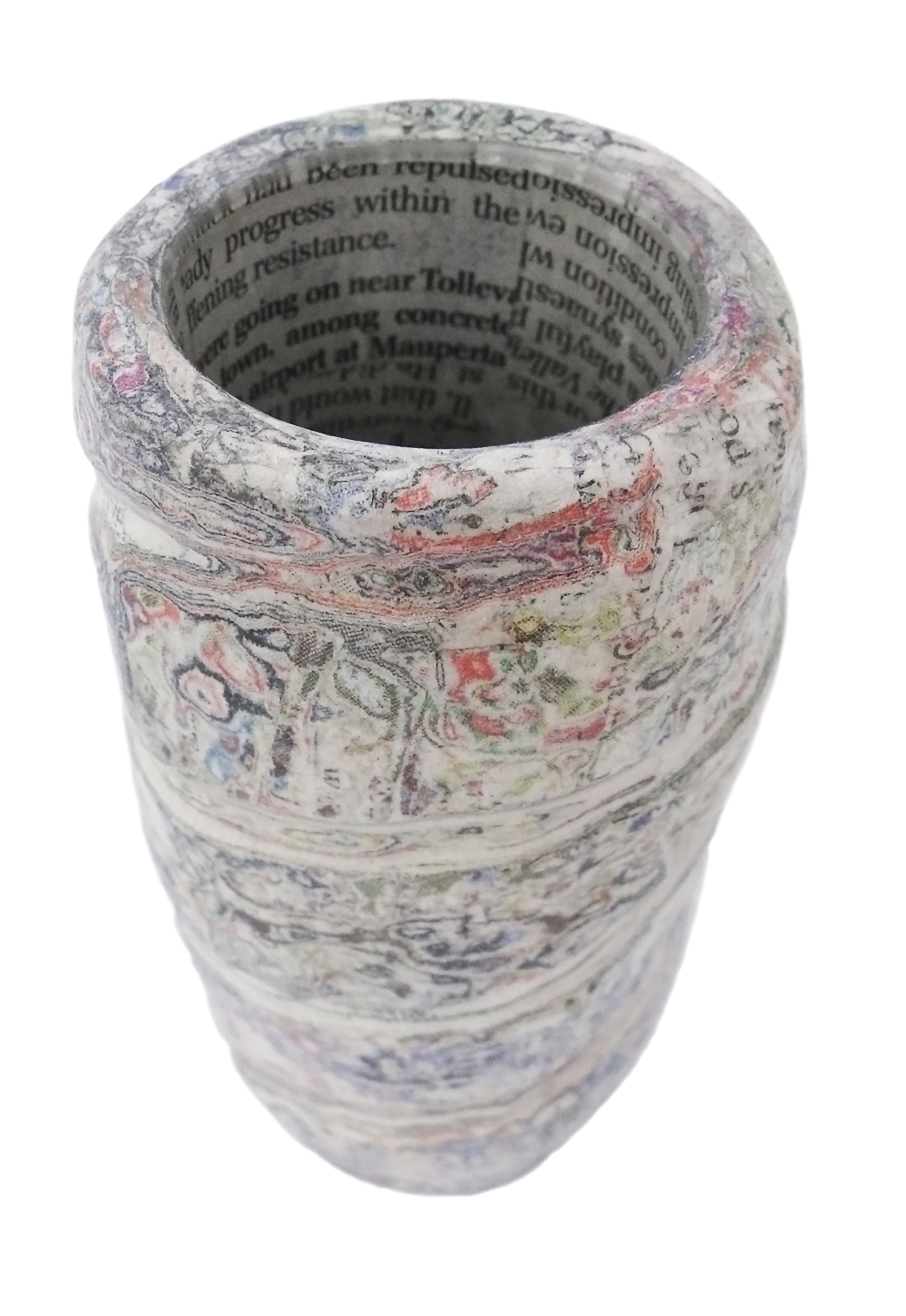 carved newspaper and glass vase by Dani Crompton designs