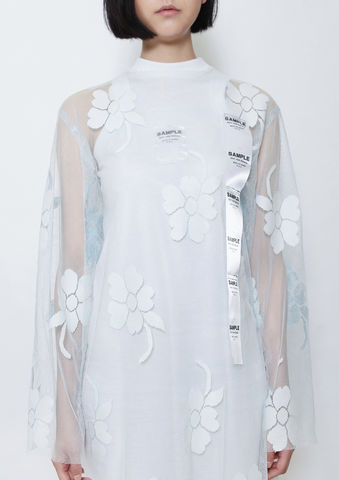 BABY,BLUE,FLOWER,SHELL,TOP,8enny lin, ss16, online, buy, shop, webshop, designer, fashion, taiwan, cute, summer, sheer t-shirt, oversize, mesh top, cool, gift idea, love, girly, japanese style, minimal, monochrome, taiwan brand, label, handmade, tailor made