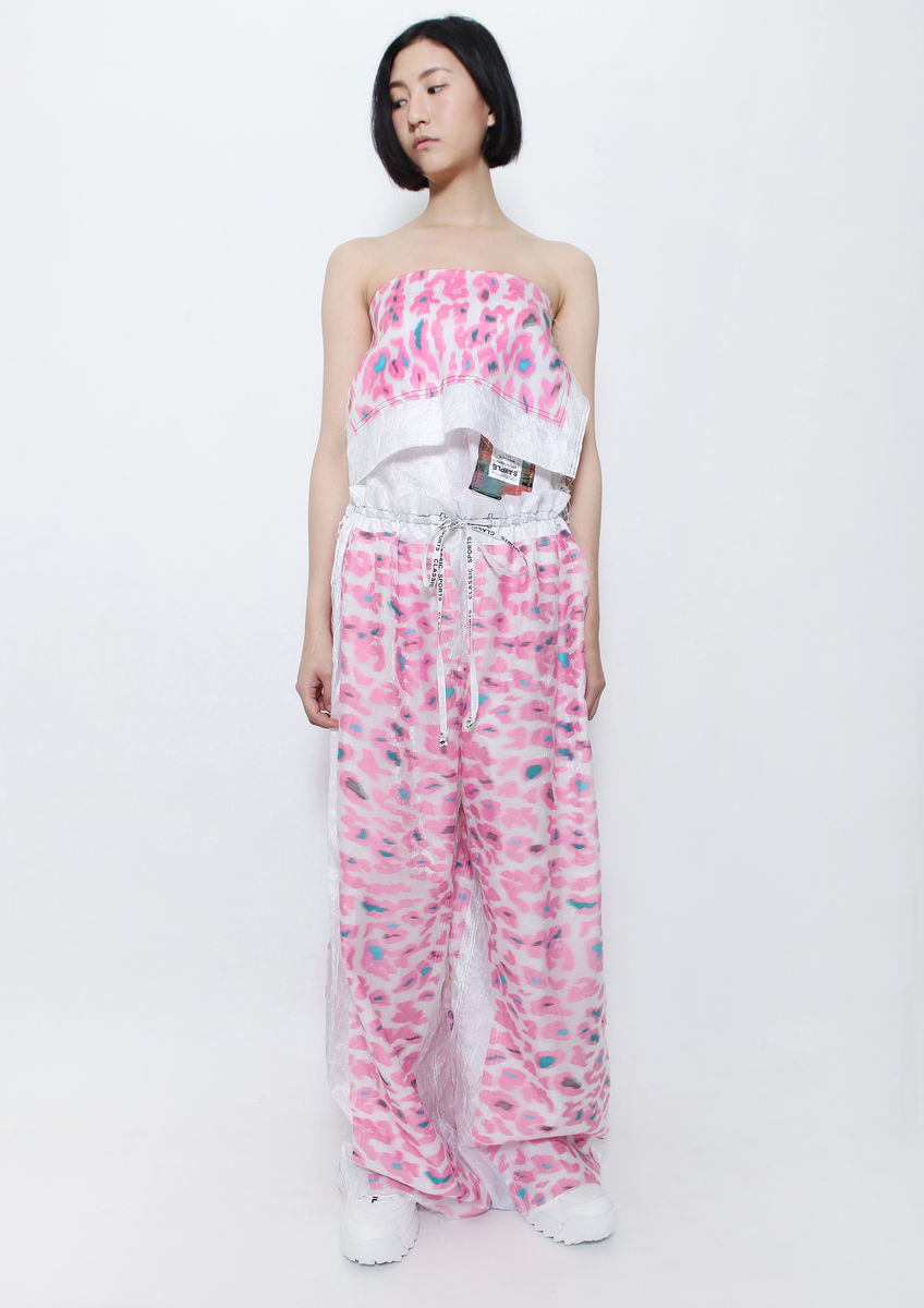PINK CAMOUFLAGE WIDE LEG PANTS - product images  of