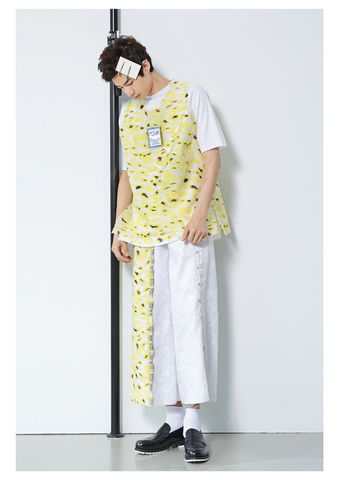 YELLOW,CAMOUFLAGE,CLEAN,STYLE,CULOTTES,8enny lin, ss16, online, buy, shop, webshop, designer, fashion, taiwan, cute, summer, sheer t-shirt, oversize, mesh top, cool, gift idea, love, girly, japanese style, minimal, monochrome, taiwan brand, label, handmade, tailor made