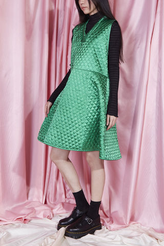 QUILTED,DRESS,somewhere nowhere, hong kong, london, online shop, clothing, brand, designer, love, rainbow, colours, label, sweatshop free, customise, handmade, independent, quilted dress, satin, festival, green, christmas, gift, family, girly, unisex, summer, spr