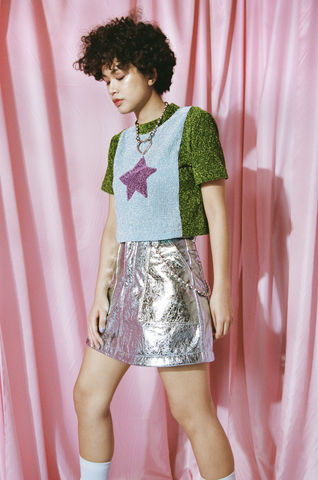 METALLIC,SKIRT,somewhere nowhere, hong kong, london, online shop, clothing, brand, designer, love, rainbow, colours, label, sweatshop free, customise, handmade, independent, metal, jacket, collection, ss17, summer, spring, festival, cloths, fashion, metallic, heart, col